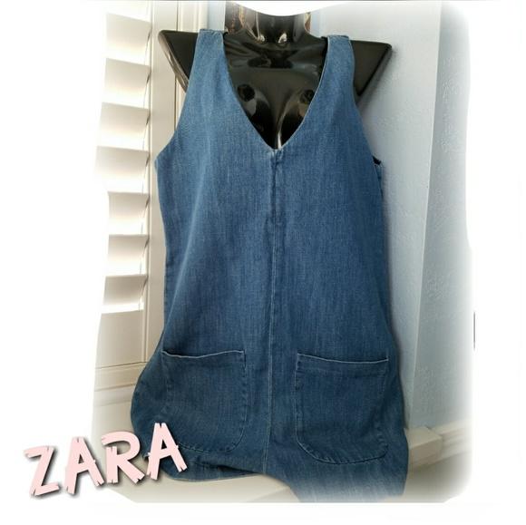 6231fc42fa55 ZARA Denim Sleeveless Shorts Romper Jumpsuit. M 5ad28e7845b30ca0ccb1ab3c